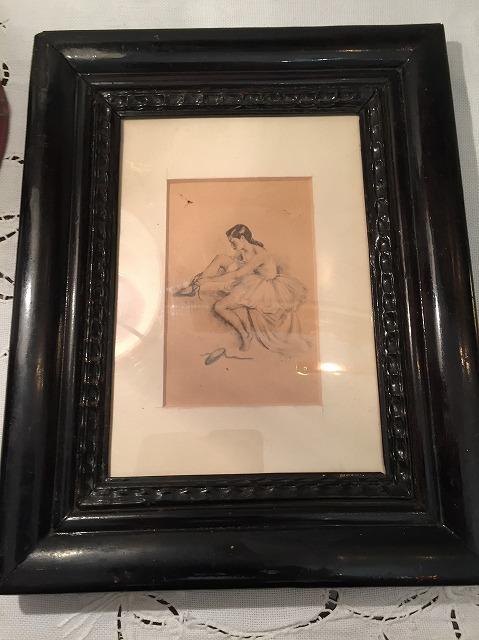リトグラフ「バレリーナ」入り木製黒額957_f0112550_06461052.jpg