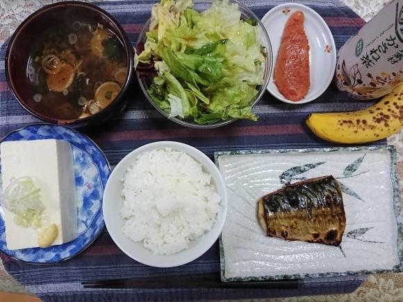11/17 焼塩鯖減塩辛子明太子新米定食@自宅_b0042308_17393461.jpg
