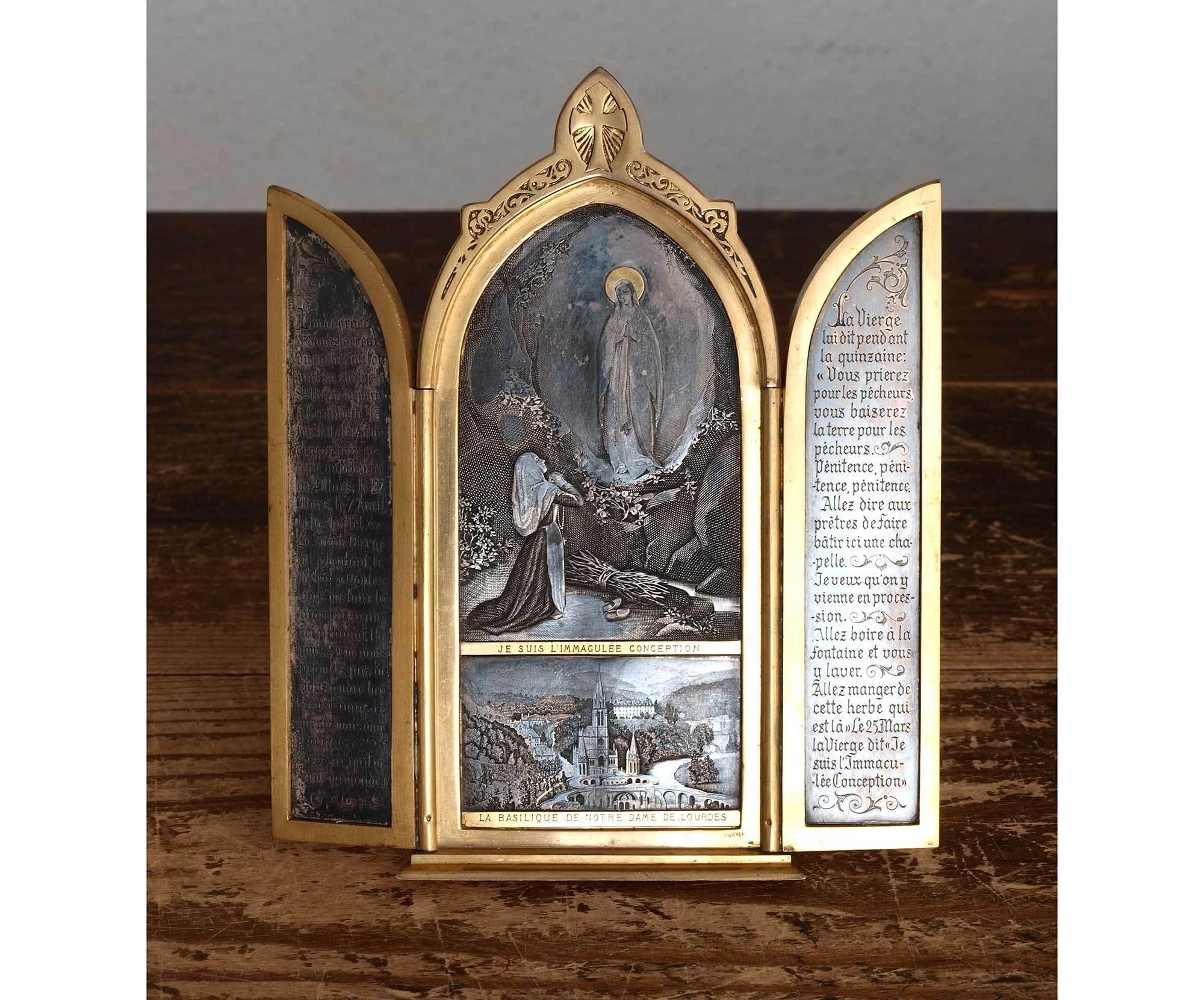 聖母マリア 三連祭壇画 イコン フランス ルルド  / G651_e0324838_00164995.jpg