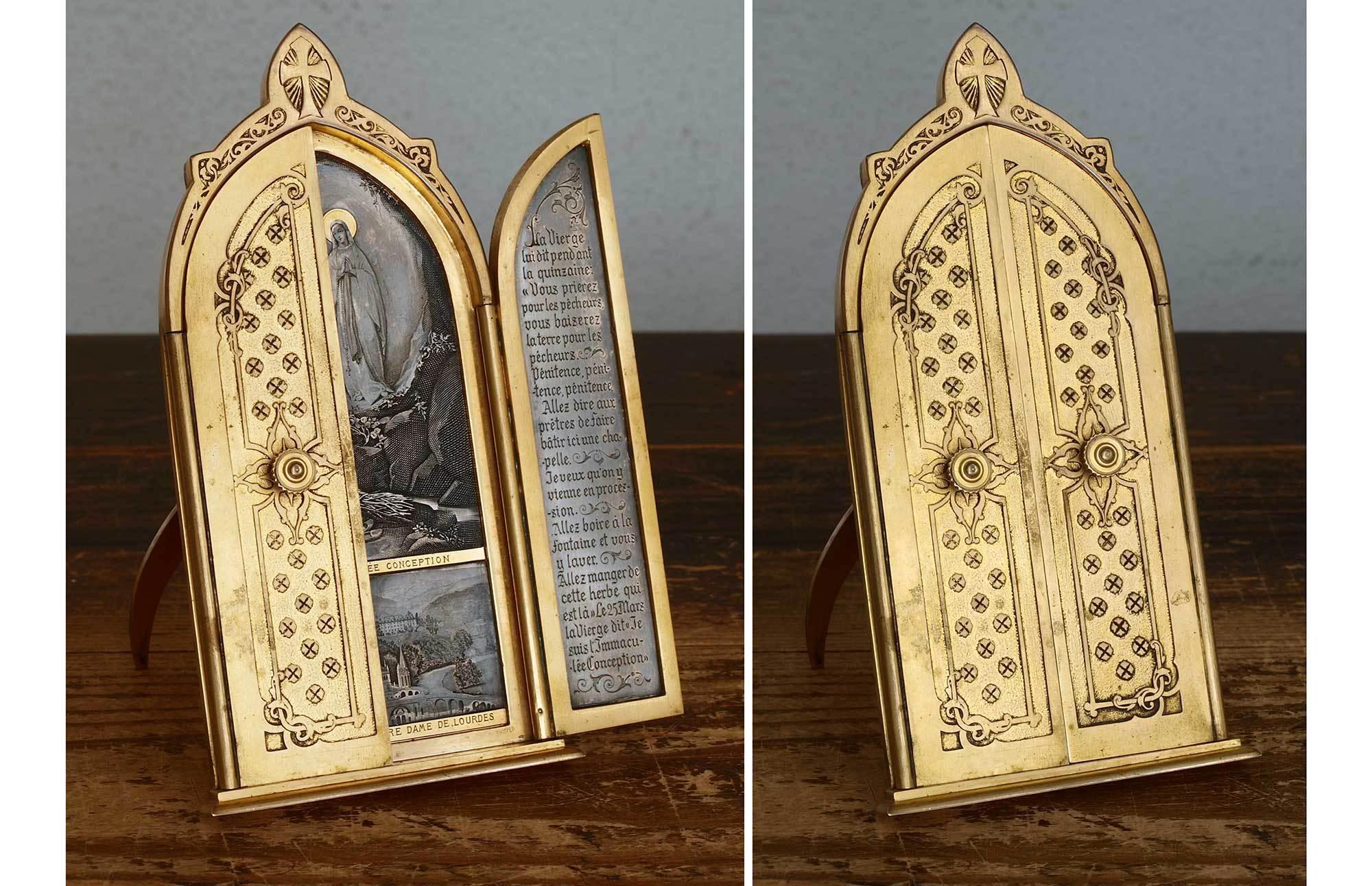 聖母マリア 三連祭壇画 イコン フランス ルルド  / G651_e0324838_00171981.jpg