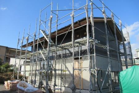 「別名の家」外壁左官下地塗り_b0179213_17471063.jpg