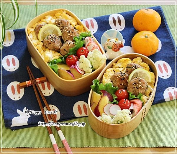 つくね玉子丼弁当と我が家の庭から紅葉とバラ♪_f0348032_16193702.jpg