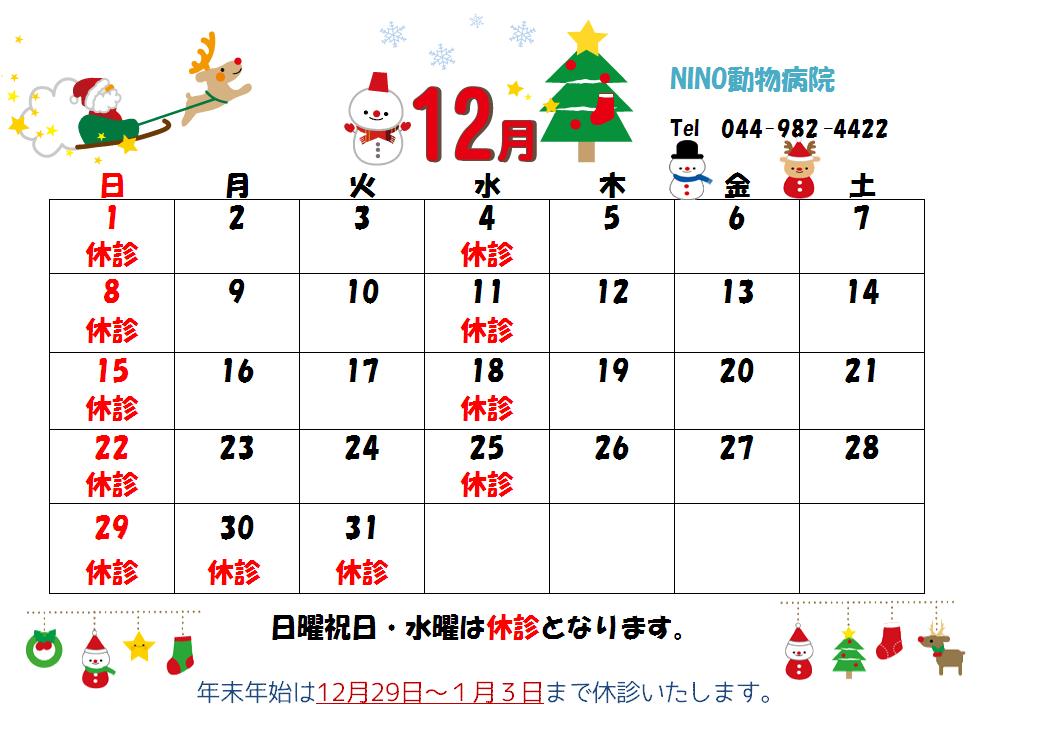 12月の診療日のお知らせ☆_e0288670_11475245.png