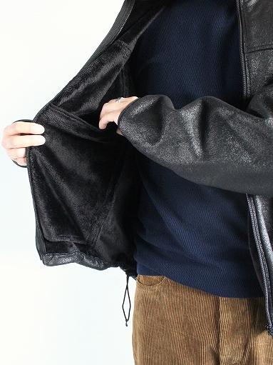 Needles Sportswear Warm-Up Stand Collar Jac - Synthetic Mouton / Black_b0139281_12241553.jpg