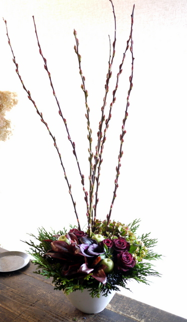 「小さなイタリア料理店 abbraccio(アブラッチオ)」様の9周年にアレンジメント。2019/11/20。_b0171193_21404998.jpg