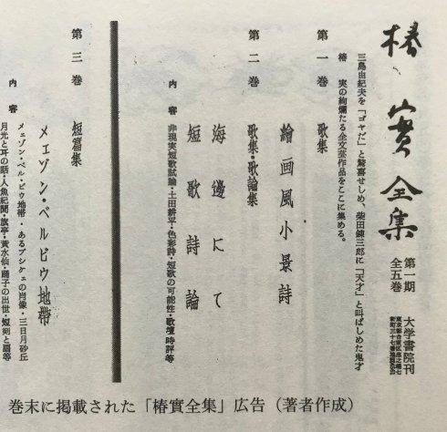 『椿實詩歌文芸論集/TSUBAKI MINORU POETICS』販売のご案内(読者直販限定)_d0045404_10274186.jpg