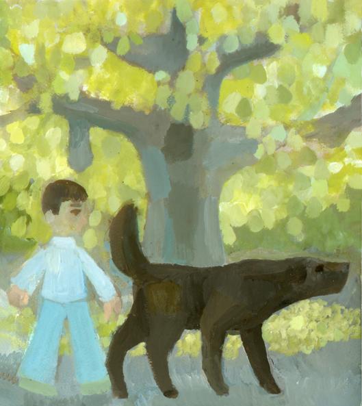 黄葉と大きな黒い犬_b0194880_18424606.jpg