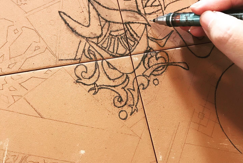 スペインタイルで着物柄や家紋を入れて和のコラボ作品_f0149716_19162076.jpeg