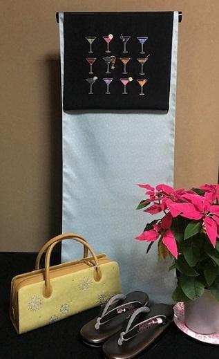 商品紹介・スワロフスキー・刺繍カクテルの帯・年末年始にも。_f0181251_19523155.jpg