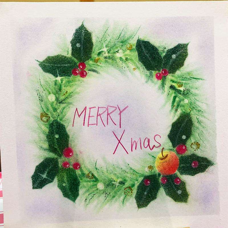 クリスマスリースを描いていただきました_d0377316_21504710.jpg
