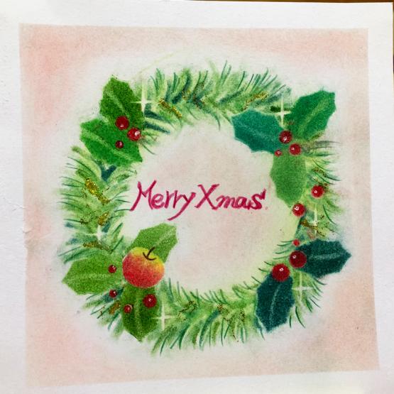 クリスマスリースを描いていただきました_d0377316_21511763.jpg