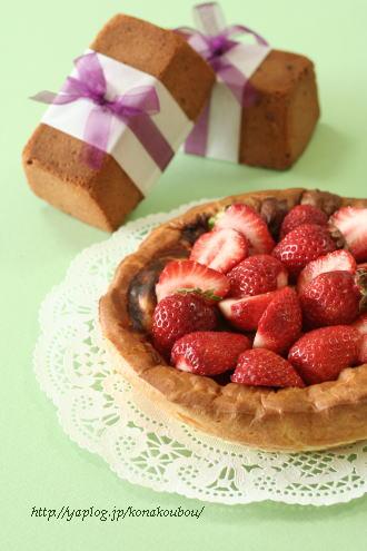作品紹介*マーブルケーキと桜のパウンド、さかさまシュー*_a0392423_09160040.jpg