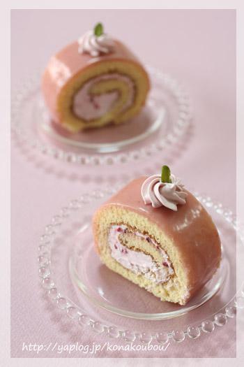3月のお菓子・ピンクのロールケーキ_a0392423_10065602.jpg