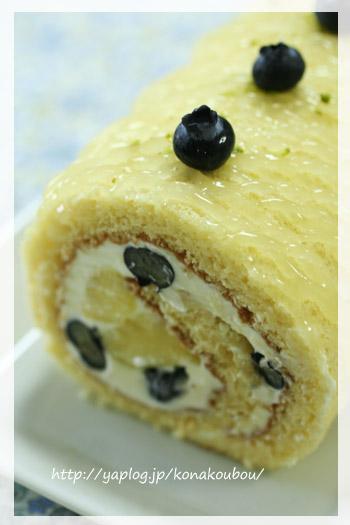 5月のお菓子・パインのロールケーキ_a0392423_23164651.jpg