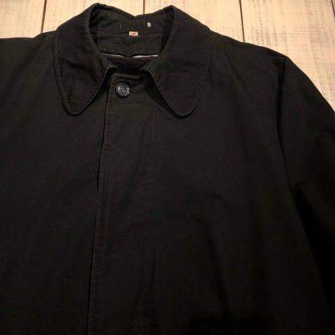"1960-70s \"" UNKNOWN \"" - BLACK POPLIN - ボアライナー付 vintage SOUTIEN COLLAR COAT ._d0172088_22425109.jpg"