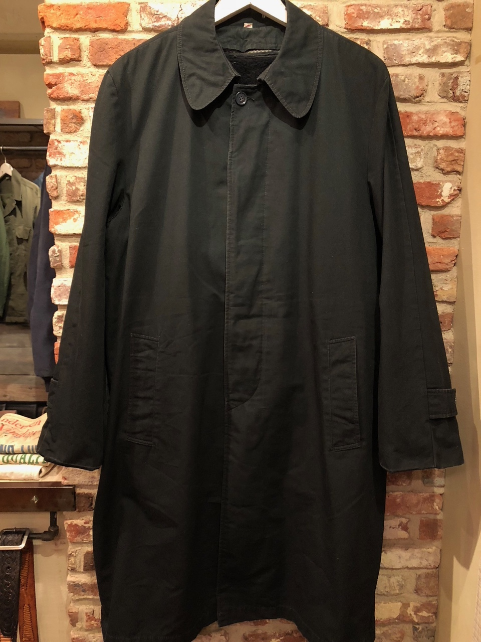 "1960-70s \"" UNKNOWN \"" - BLACK POPLIN - ボアライナー付 vintage SOUTIEN COLLAR COAT ._d0172088_22503136.jpg"