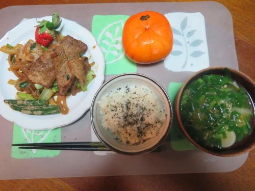 朝:サラダ添え卵焼き、味噌汁&野菜ジュース 昼:福あずきのおはぎ&柿 夜:豚肉の味噌炒め&味噌汁_c0075701_22005028.jpg