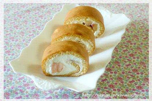 8月のお菓子・蜂蜜と桃のロールケーキ_a0392423_00270508.jpg