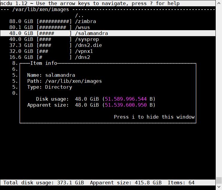 ディスク占有犯は誰!SUSE Linux でディレクトリの占有量を調査 ncdu_a0056607_13205984.png