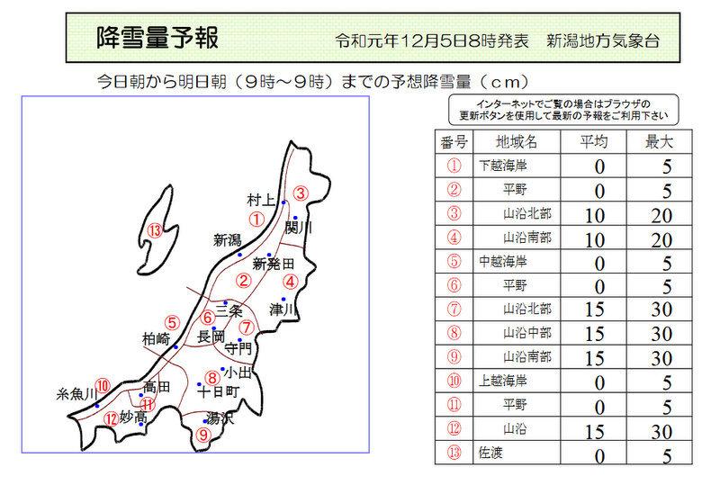 新潟県降雪量予報(2019年12月5日AM/PM) 夕方更新しました_e0037849_08041155.jpg