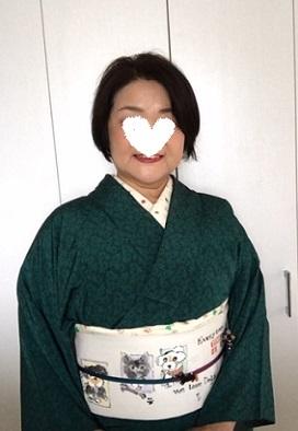人見敏男さんに描いて頂いたお客様の可愛い愛犬達の帯。_f0181251_16355785.jpg