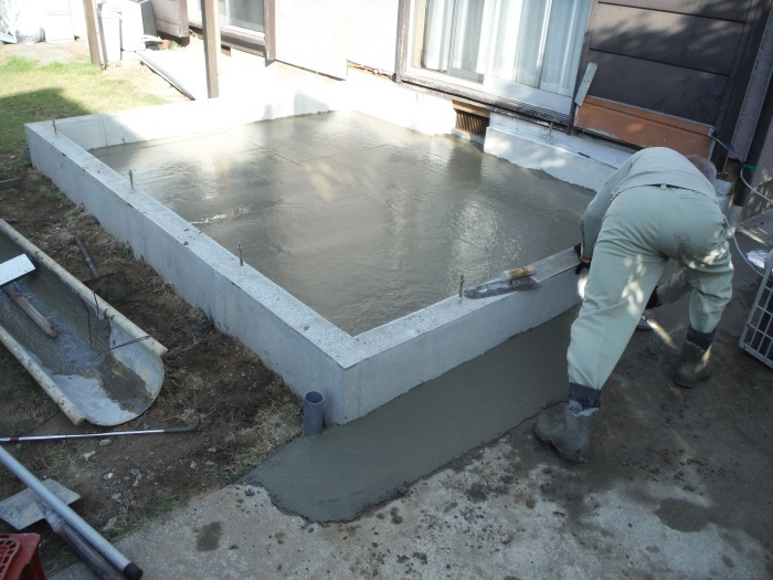 6畳間増築 ~ 基礎コンクリート打。_d0165368_04275848.jpg