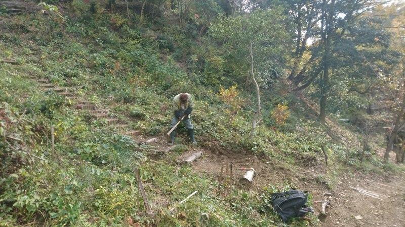 尾根の間伐と道直しとペンキ塗りと。焼き芋とお土産の数々_c0239329_19192194.jpg