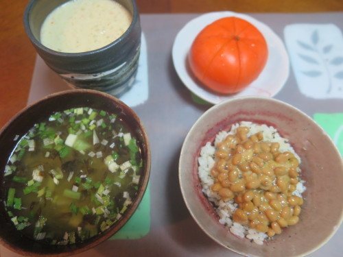 朝:納豆ご飯、金目鯛味噌汁&野菜ジュース 昼:卵添えチキンラーメン 夜:大好きな美味しい我が家のカレー_c0075701_20035609.jpg