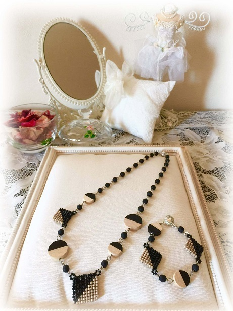 ❀Black & Beige Necklace,Bracelet❀_c0368764_23284546.jpg