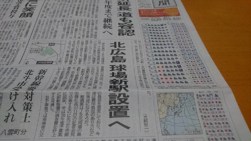 2019年12月11日(水)今朝の函館の天気と気温は。北広島、球場新駅設置へ。北海道新聞より。本日見学さんが来ます。賑やかになりそう_b0106766_05281748.jpg