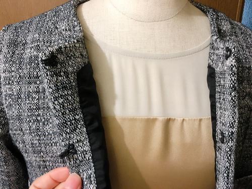 ベージュの切り替えワンピースと、黒ラメツイードのジャケット (フルオーダー)_b0199696_12372804.jpg