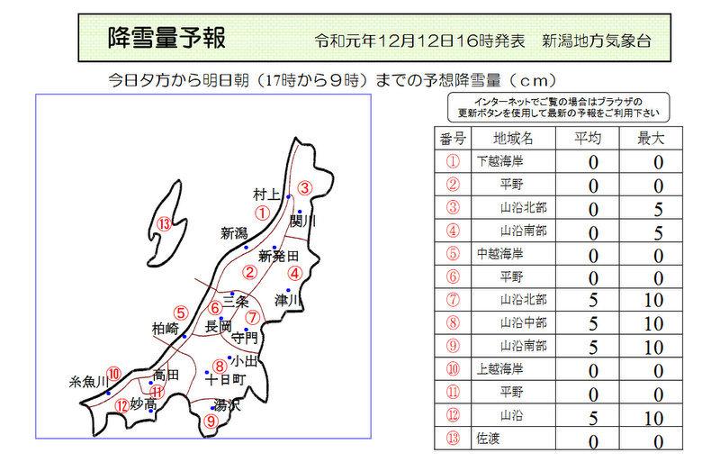 新潟県降雪量予報(2019年12月12日AM/PM) 夕方更新_e0037849_17233038.jpg