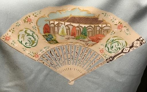 扇面に洋風柄の付け下げ・龍村袋帯のご来店のお客様。_f0181251_19293685.jpg