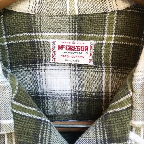 〜Early60\'s Green Check Flannel Box Loop Shirts✨_a0182112_12192757.jpg