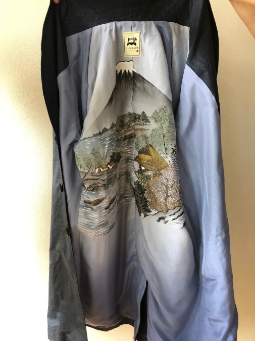 着物着物リメイク・ 大島のお着物から紳士コート_d0127925_09574376.jpg