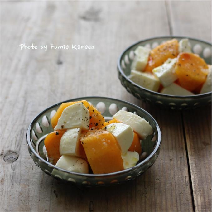 柿とモッツアレラのサラダ_f0235919_07570891.jpg