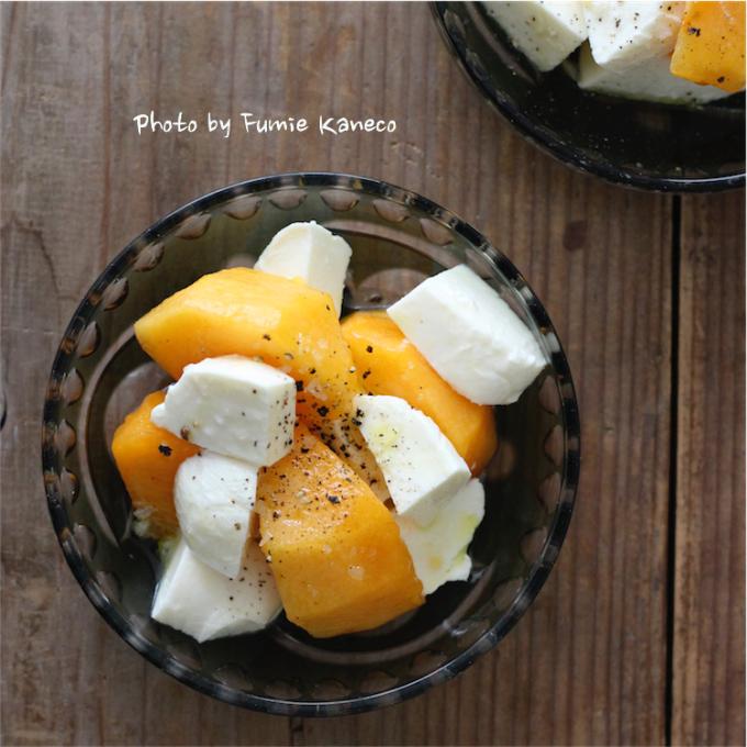 柿とモッツアレラのサラダ_f0235919_07583241.jpg