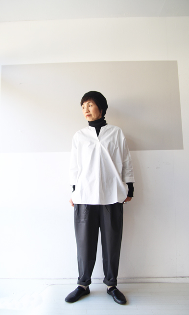 KEY NECK DROP SHOULDER SHIRT_f0215708_13324928.jpg