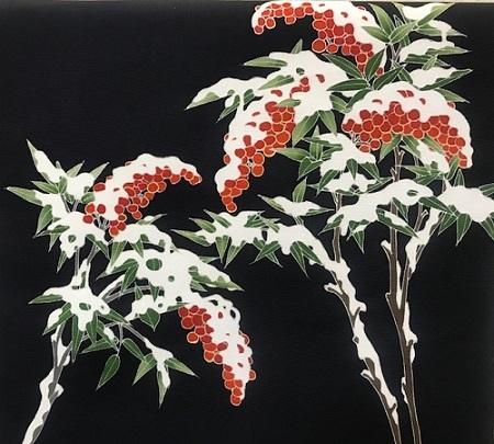 商品紹介・素敵な雪持ち南天の染め帯をコーディネイト。_f0181251_19103337.jpg