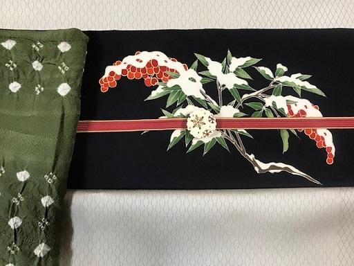 商品紹介・素敵な雪持ち南天の染め帯をコーディネイト。_f0181251_19143701.jpg