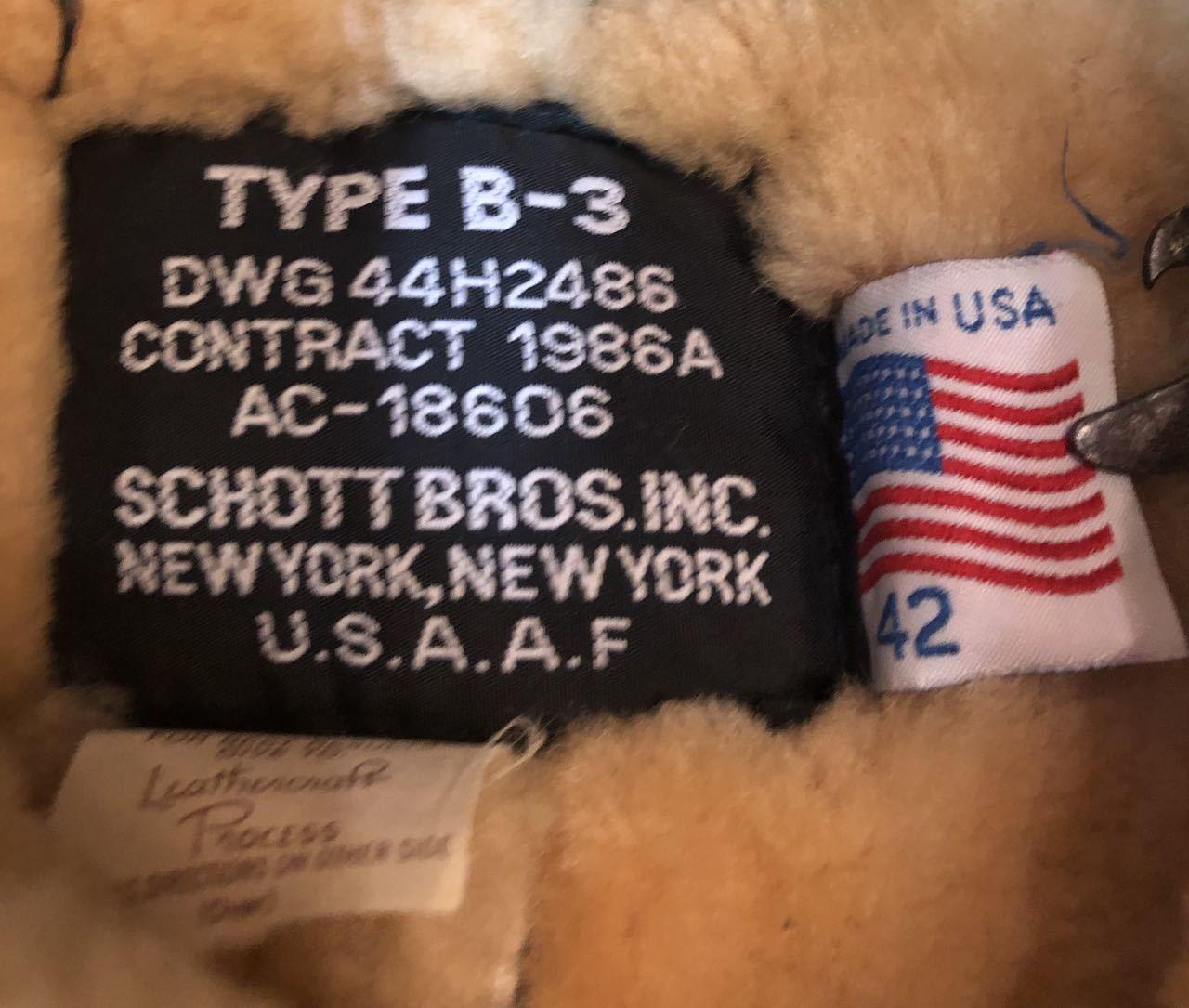 12月21日(土)入荷!80s〜SCHOTT BROS INC Made In U.S.A Bー3 ジャケット!_c0144020_14150214.jpg