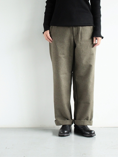 BRENA COQ PANTS - WASHABLE COTTON MELTON / OLIVE _b0139281_14412498.jpg
