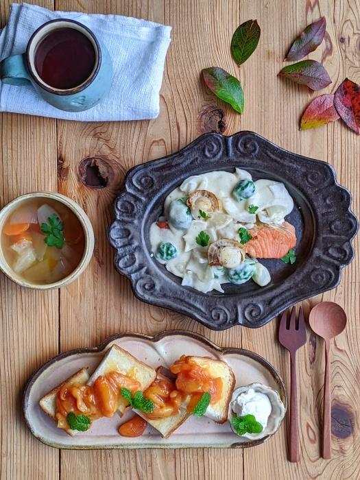 鮭のクリーム煮朝ごはん_b0277136_08415115.jpeg