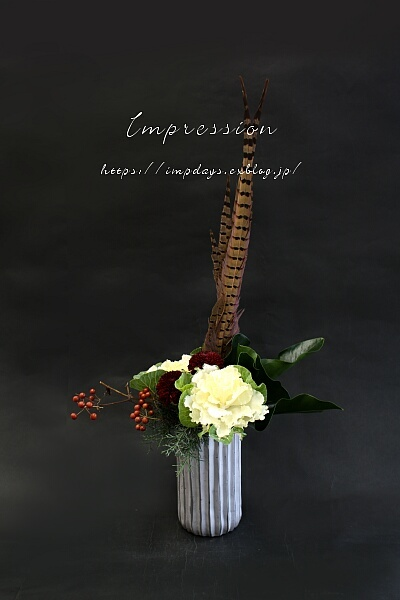 定期装花から ピンポンマム:アブロン_a0085317_16030653.jpg