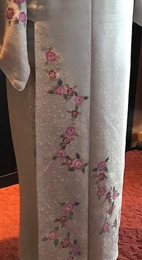 Xmasの帯のお客様・ご自分で描かれた着物・絞のツリーの帯。_f0181251_17473357.jpg