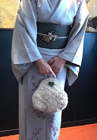 Xmasの帯のお客様・ご自分で描かれた着物・絞のツリーの帯。_f0181251_17501235.jpg