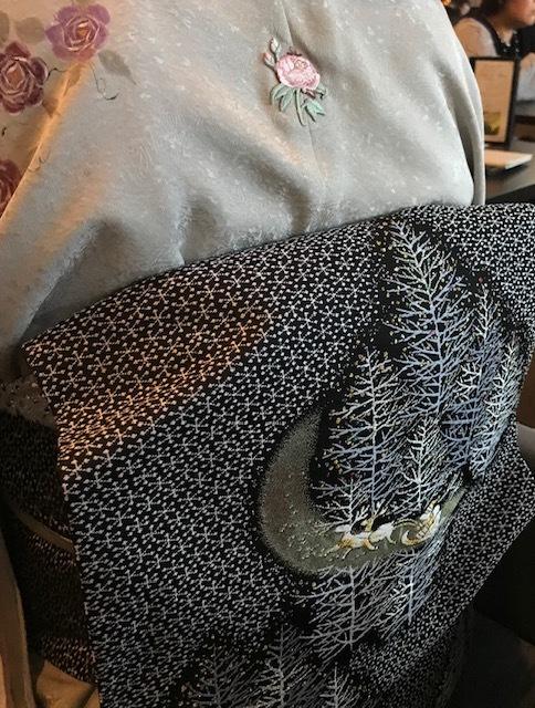 Xmasの帯のお客様・ご自分で描かれた着物・絞のツリーの帯。_f0181251_17523847.jpg