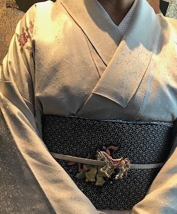 Xmasの帯のお客様・ご自分で描かれた着物・絞のツリーの帯。_f0181251_17553955.jpg