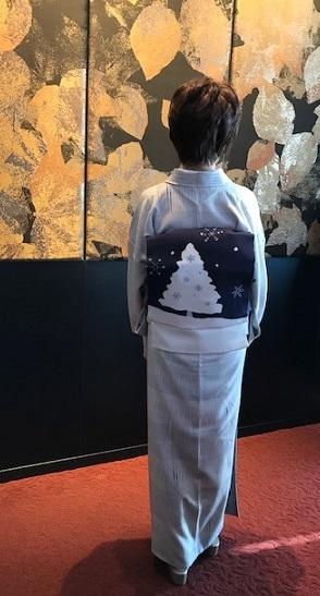 Xmasの帯のお客様・ご自分で描かれた着物・絞のツリーの帯。_f0181251_18060020.jpg