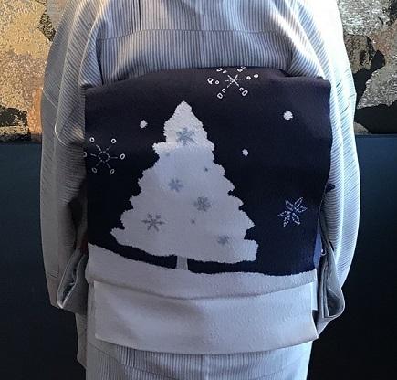 Xmasの帯のお客様・ご自分で描かれた着物・絞のツリーの帯。_f0181251_18070310.jpg
